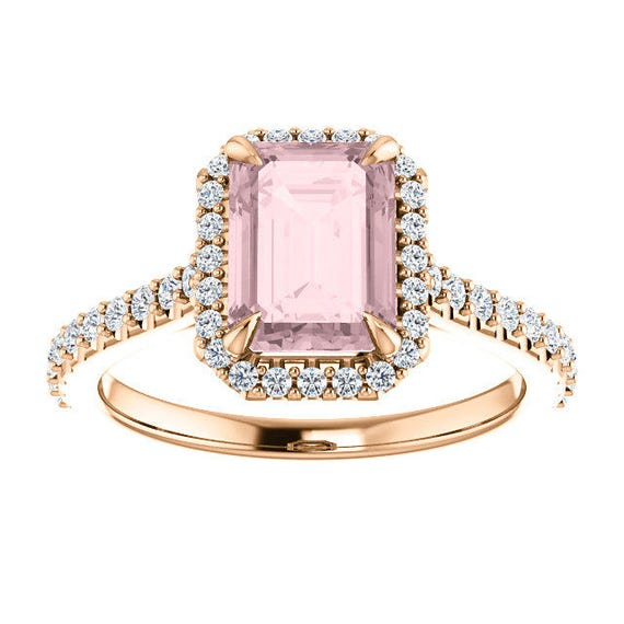 Emerald Cut 2 Carat Morganite and Diamond Halo Ring 14k Rose Gold Claw Prongs