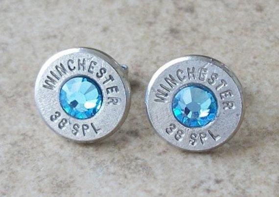 Winchester 38 Special Nickel Bullet Earring, Lightweight Thin Cut, Aquamarine Swarovski Crystal, Surgical Steel Stud - 412