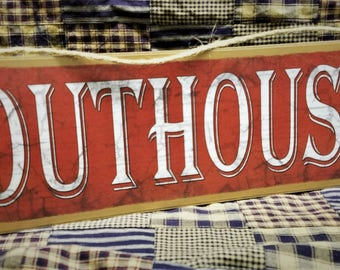 "Rustic Worn Look Outhouse Sign Primitive Style Red Wall Bath Decor Plaque 15""x5"""