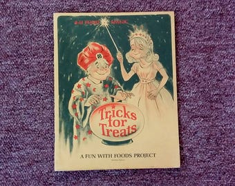Vintage Cookbook 4-H Tricks for Treats Fun with Foods 60's Mid Century Kitchen Helps Ephemera w Fun Illustrations Collectible