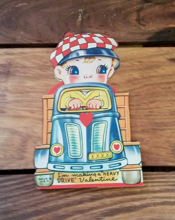 Vintage Valentine Greeting Card Valentine's Day Cabbie 3D Card 40's Mid Century Ephemera Made in USA Adorable Checkered Hat Pick Up Truck