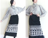 Vintage 1960s 1970s Maxi Skirt Black Velvet And Silver Malbe / 60s 70s Long Embroidered Boho Skirt / Small