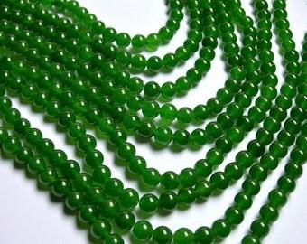 Jade - 8 mm round beads -1 full strand - 48 beads - color - green Jade - RFG1204