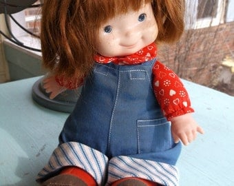 Doll vintage 1973 Fisher-Price Audrey Lap Sitter Doll Red hair and removable overalls Lapsitter