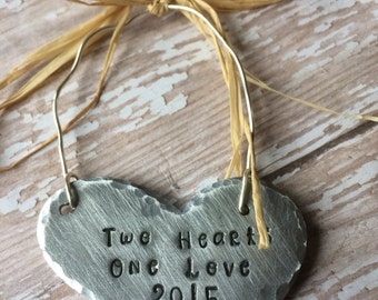 Hand Stamped Heart Christmas Ornament - First Christmas Together, Wedding Ornament- Two Hearts One Love Personalized By Inspired Jewelry