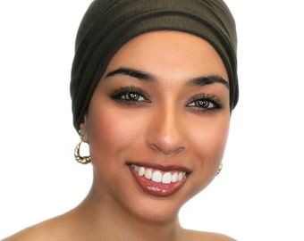 Chemo Hat, Sleep Hat, Alopecia Cap, Cloche, Scarf Liner, Slouch Hat, Milk Chocolate Brown, Modal Knit, 299-11