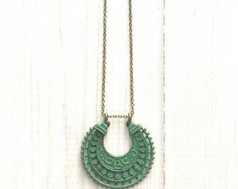 Boho Necklace - verdigris patina blue green crescent pendant - Bohemian tribal gypsy moon shape - trendy filigree floral medallion charm