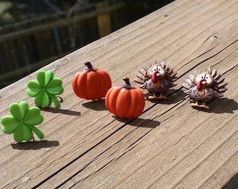 Light Green Four Leaf Clover, Orange Pumpkin, or Thanksgiving Turkey Earrings - St Patrick's Day Jewelry Repurposed button earrings in stud