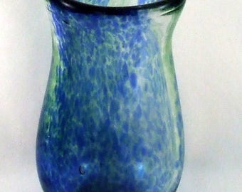 Blue and Green Blown Glass Vase