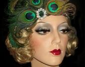 PEACOCK PASSION- Gatsby Headband, Art Deco Flapper Head Piece, Natural Peacock Feather Headband, Peacock Headpiece, 20s Peacock Headband,