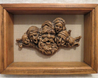 "Framed Sculpture Signed Christmas ""Make a Joyful Noise to the Lord"""
