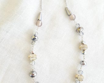 Silver Bead Necklace Glass Metal Beads
