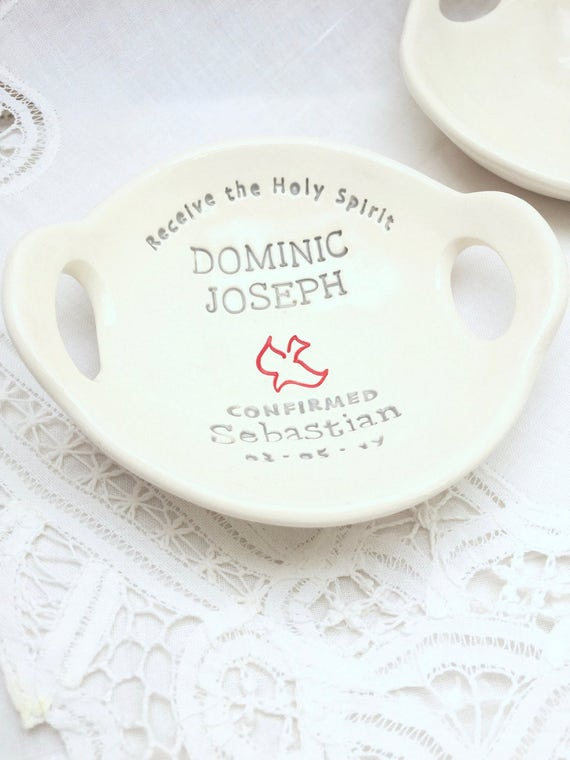 Confirmation Gift for Boys | Confirmation Gifts for Boy |  Personalized Custom Confirmation Bowl | Clarey Clayworks original | Religious
