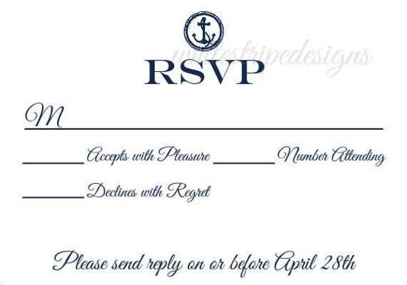 nautical wedding rsvp card a1 envelope size card size
