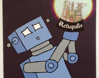 Robot of Leisure: Souvenir From the Forgotten Future - original artwork - acrylic on canvas
