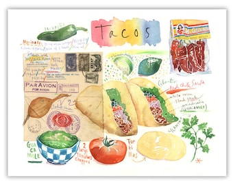 Tacos recipe print, Mexican Taco illustration, Mexico, Watercolor print, Food painting, Latin american poster, Home decor, Kitchen wall art