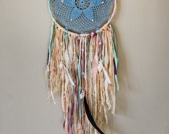 Blue Doily Dreamcatcher Wall Hanging