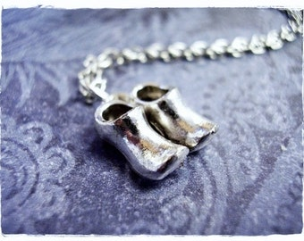 Silver Clogs Necklace - Silver Pewter Clogs Charm on a Delicate Silver Plated Cable Chain or Charm Only