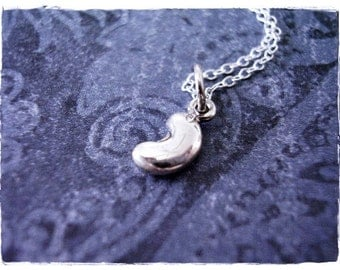 Tiny Silver Bean Necklace - Sterling Silver Bean Charm on a Delicate Sterling Silver Cable Chain or Charm Only