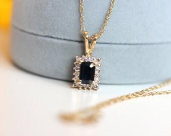 Vintage halo sapphire necklace, emerald cut halo necklace, blue sapphire pendant