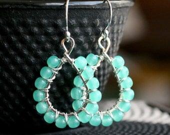 Aqua green beaded earrings, sterling silver, wire wrapped, beaded drop earrings, Czech glass, dangle, Mimi Michele Jewelry
