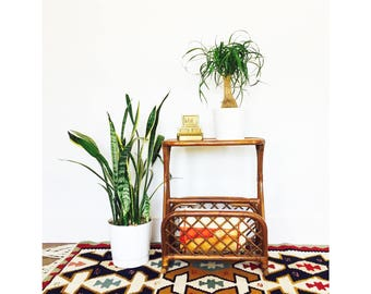 Vintage Bent Bamboo Side Table with Storage