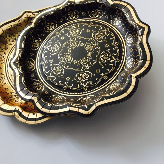 Like this item? & 12 BLACK u0026 GOLD PAPER Plates Vintage Style Baroque Fancy