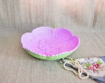 Summer Sale Floral Trinket Dish/Vanity Tray  / Painted Upcycled Vintage Bowl / Pink and Green Bowl for Trinkets or Display