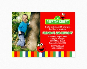 Elmo Birthday Party Invitation,  Elmo Invitation, Red, Green, Personalized, Printable or Printed