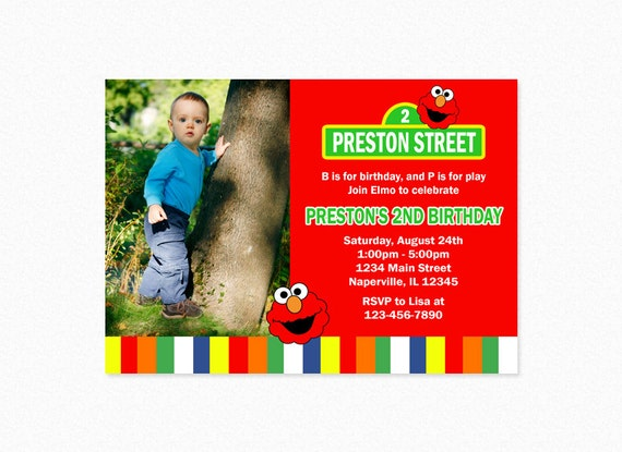 Elmo Birthday Party Invitation Red Green Personalized Printable Or Printed