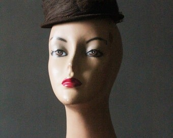 Vintage 30's Dark Chocolate Brown Wool Fascinator Tilt Hat with Wrapped Veil and Paper Flowers by Roe Kauffman of Chicago