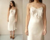 1950's Vintage Ivory Silk & Lace Applique Romantic Slip Night Dress Size Medium