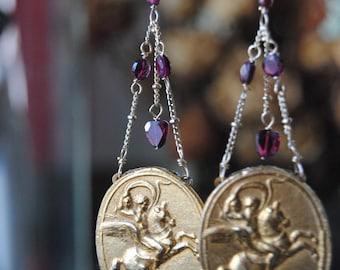 Royal Equestrian--Vintage Horse Equestrian Replica Medallion Garnet Chain French Wire Fleur De Lis EARRINGS