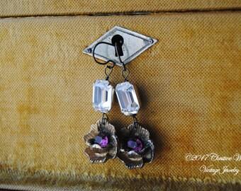 AMETHYST BLOOMS--Vintage Amethyst Glass Flower Emerald Rhinestone EARRINGS