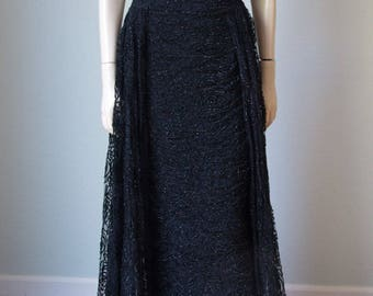 1950s-60s Luis Estevez Ruched Black Net Gown /  Hourglass Bombshell Formal Evening Gown with Sparkle / Side Slits / Dramatic Details / Small