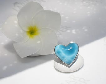 AAA Larimar heart ring size 7.25 by Larimarandsilver, Nights of Love - deep blue Larimar heart ring, turtleback, handcrafted Larimar ring