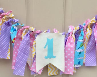Oh the Places You'll Go Birthday Banner Party Highchair Banner Dr Seuss Baby Shower Dr Seuss 1st birthday Classroom fabric strip bunting