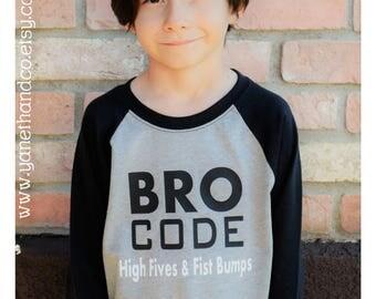Bro Code Kids Raglan shirt, Bro Code High Fives & Fist Bumps Kids shirt,Bro code Kids shirt,Brothers matching shirts, Friends matching shirt