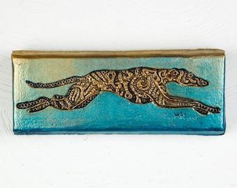 Greyt Greyhound Stone Art (donation to Greyhound Welfare) Verdigris, Pet Lover Gift, Greyhound Rescue