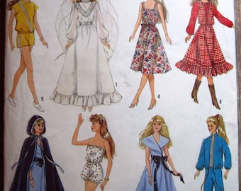 Vintage 1980s Wardrobe for 11-1/2 inch Barbie Type Dolls and 12-1/2 inch Darci Dolls Simplicity Pattern 8333 Cut/Complete