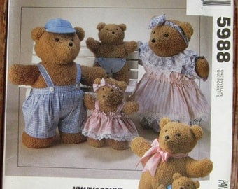 Bear Dolls in Two Sizes and Clothes Vintage 1990s McCalls Crafts Pattern 5988 UNCUT