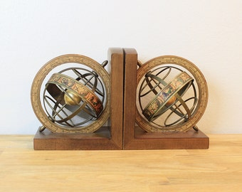 Vintage  World Spinning Globe Bookends Made in Italy with Zodiac Symbols, Item No 1711
