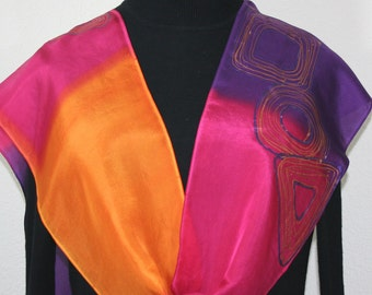 Silk Scarf Hand Painted Silk Shawl Pink Orange Purple Hand Dyed Scarf BRIGHT SUNSET  Size 8x54 Anniversary Gift Birthday Gift Free Gift-Wrap