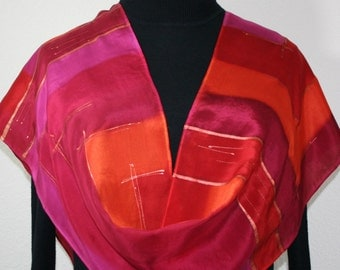 Red, Poppy Red, Berry Pink Hand Dyed Silk Scarf PASSION FRUIT, in 3 SIZES. Birthday Gift, Mother Gift. Gift ideas for Her. Gift-Wrapped