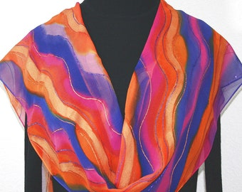 Orange Silk Scarf Handpainted. Purple, Pink Hand Painted Shawl. Handmade Silk Scarf SUNSET WATERS. Size 11x60. Anniversary, Mother Gift