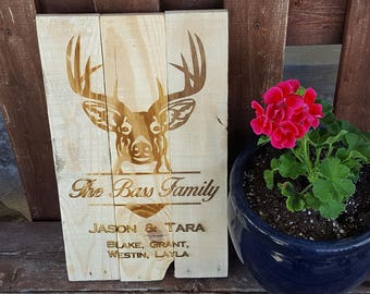 Hunting Family, Sign, Front Porch Sign, Family Name Sign, Last Name Sign, Front Door Sign, Custom Anniversary gift, Kids names sign