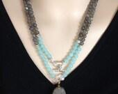 CRAZY SALE:  Ashira Natural Sea Aqua Blue Chalcedony & Labradorite Gemstone Necklace with Druzy Crystal Pendant
