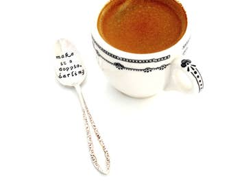make is a DOPPIO darling™ demitasse spoon. ORIGINAL design. The ORIGINAL Hand Stamped Vintage Coffee & Espresso Spoons™ by Sycamore Hill
