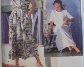 Vogue Sport Back Buttoned Blouson Dress Pattern - Vogue 8599- Sizes 14-16-18, Bust 36-40, Uncut
