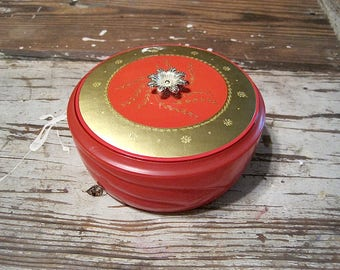 1950's Avon Persian Wood Beauty Dust Red Glass Container